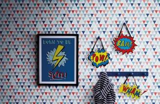 Papel de parede Platta Mate Triângulos Cinza bege Azul Branco creme Turquesa menta Vermelho
