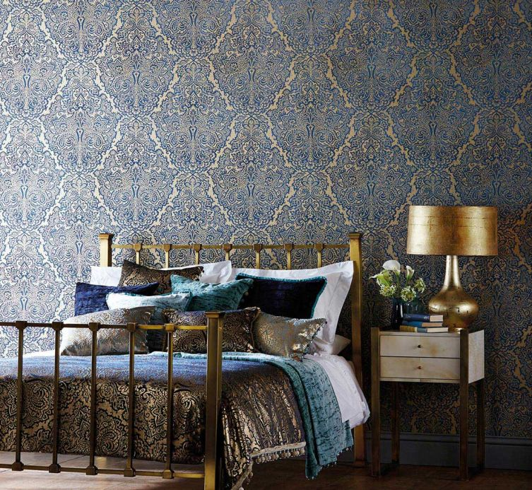 Classic Wallpaper Wallpaper Perun dark blue Room View