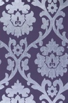 Wallpaper Maresa Shimmering pattern Matt base surface Baroque damask Violet Pastel violet Silver lustre