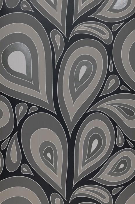 Wallpaper Celestia Matt Retro elements Stylised leaves Black Dark grey Grey white Light beige grey Pearl dark grey