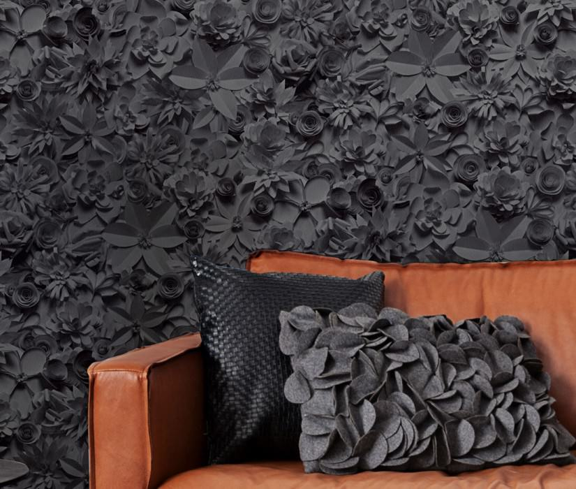 Wallpaper 3D-Blossoms Matt Blossoms Anthracite Basalt grey Black grey Black grey shimmer