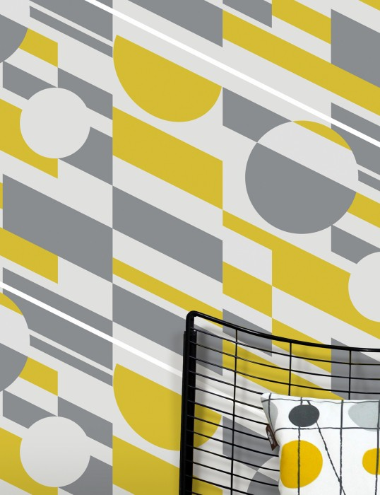 Wallpaper Calimero Matt Geometrical elements Modern Art Light grey Grey White Lemon yellow