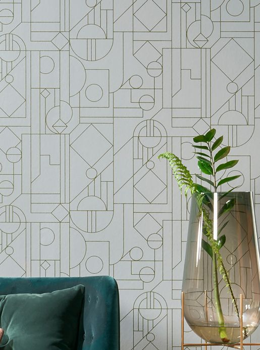 Geometric Wallpaper Wallpaper Arisa pearl green Room View
