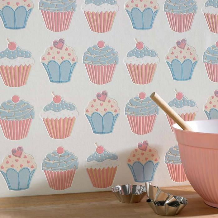 Wallpaper Cupcake Matt Cupcakes Cream Light blue Rose White