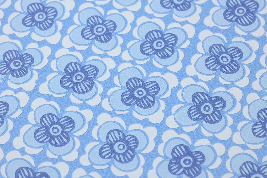 Tapete Galina Matt Stilisierte Blüten Hellblau Blasshellblau Blau Weiss