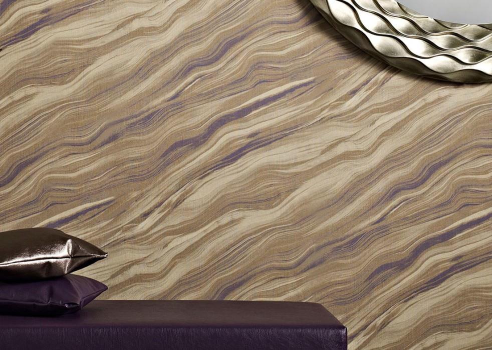 Papel pintado Elyria Mate Efecto textil Imitación de mármol Marrón verdoso Gris amarillento claro Azul violeta