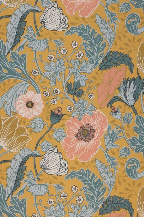 Papier peint floral Papier peint Soria jaune ocre Largeur de lé