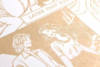 Papel de parede Comic Love Mate Edifícios Pessoas Palavras Branco creme Ouro pérola