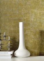 Wallpaper Croco 14 Shimmering Imitation leather Gold Olive brown Olive green