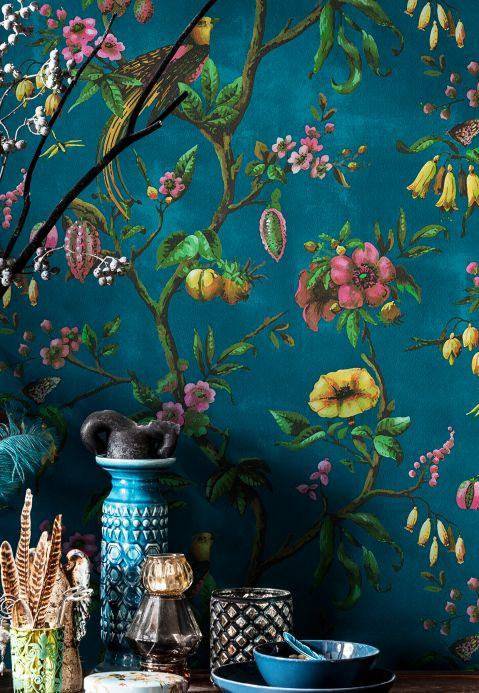 Oriental Wallpaper Wallpaper Camille ocean blue Room View