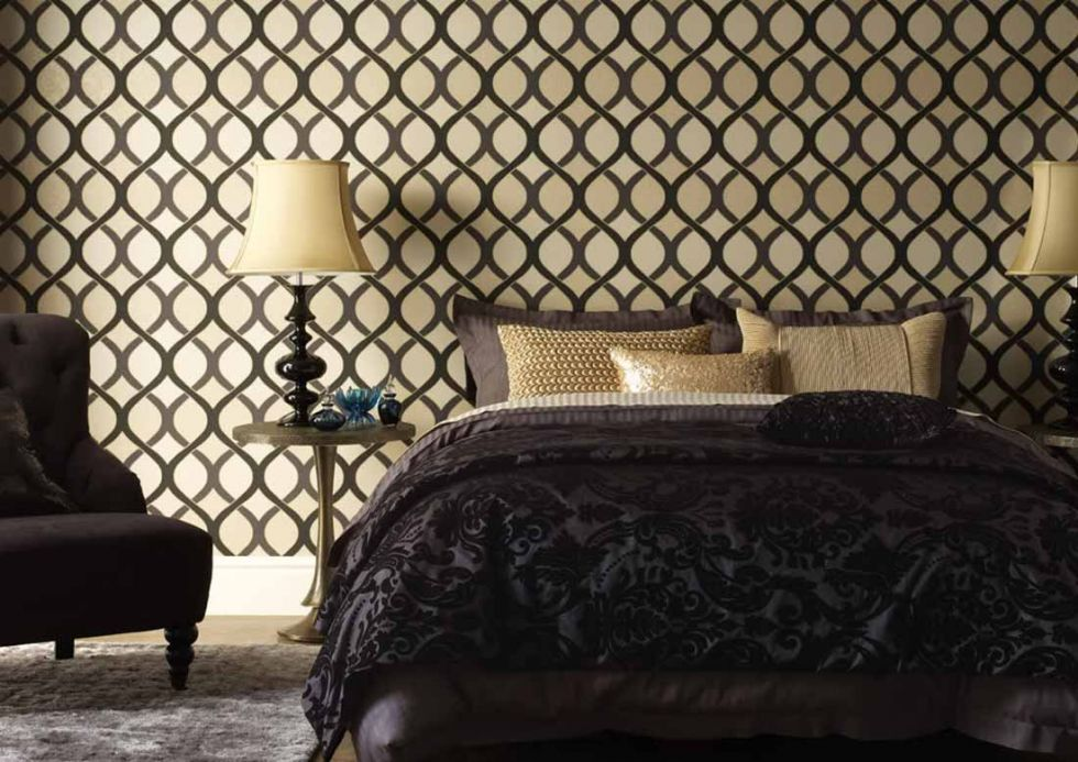 Archiv Wallpaper Luana anthracite Room View