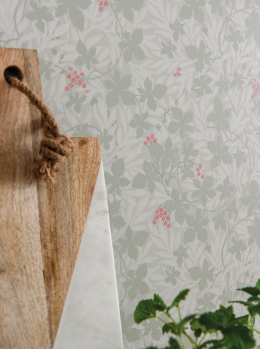 Carta da parati botanica Carta da parati Gwendolin grigio muschio Visuale camera