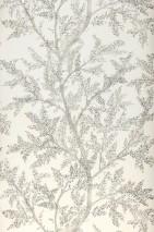 Papel pintado Nirina Mate Ramas con hojas Blanco crema Tonos de gris Plata brillante