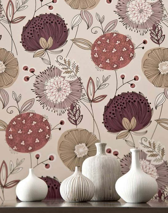 Archiv Wallpaper Eunonia pale red violet Room View