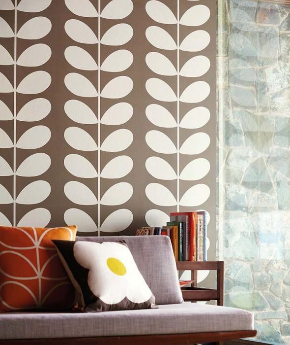Wallpaper Diana Matt Stylised leaves Grey brown Cream