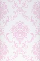 Carta da parati Emmeline Opaco Damasco floreale Bianco crema Rosa pastello