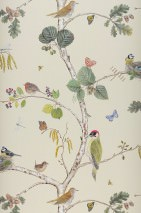 Wallpaper Merle Matt Bees Butterflies Birds Branches with leaves and fruit Cream Shades of blue Brown tones Yellow Shades of green Red