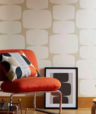Wallpaper Waris cream Room View