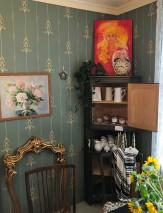 Papier peint Danne Aspect impression à la main Mat Damassé floral Éléments graphiques Art nouveau Turquoise menthe Beige Ivoire Vert pin Rosé pâle
