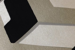 Wallpaper Frogalom Matt Geometrical elements Pearl beige shimmer Black Silver grey shimmer