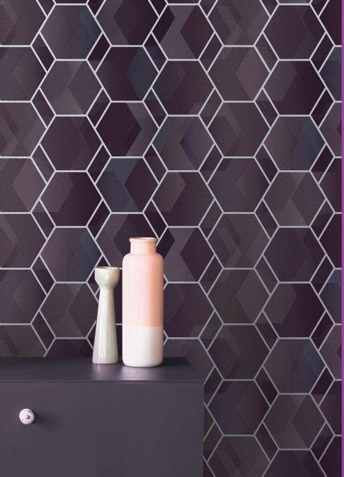 Papel pintado geométrico Papel pintado Opalino violeta pastel Ver habitación