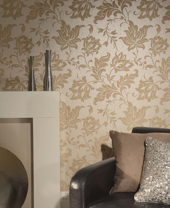 Archiv Wallpaper Pontos light grey beige Room View