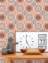 Wallpaper Marelle Matt Stylised blossoms Grey white Red orange Umbra grey