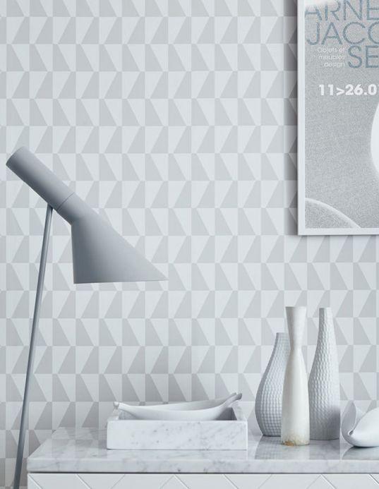 Carta da parati geometrica Carta da parati Balder grigio chiaro  Visuale camera