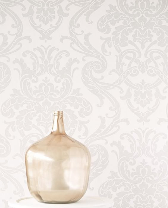 Wallpaper Maradila Shimmering pattern Matt base surface Baroque damask Grey white Matt silver