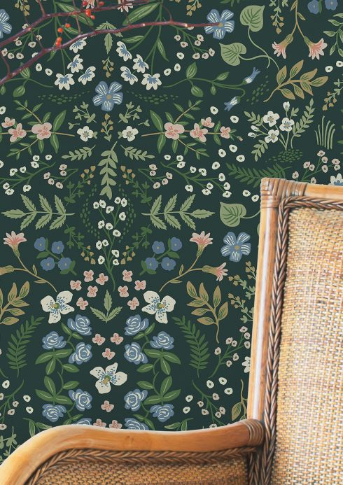 Papier peint floral Papier peint Wildwood vert sapin Vue pièce