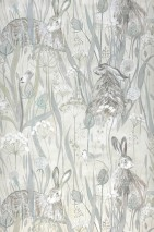 Wallpaper Anske Matt Rabbits Field flowers Cream Pale grey brown Light grey Pastel turquoise White