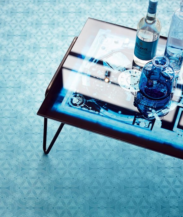 Wallpaper Imalas Shimmering pattern Matt base surface Circles Modern elements Turquoise blue Silver blue