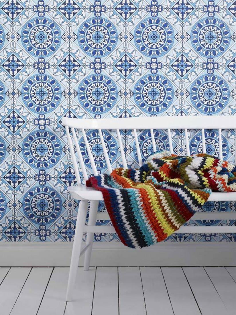 tapete borromeo blau dunkelblau hellblau weiss. Black Bedroom Furniture Sets. Home Design Ideas