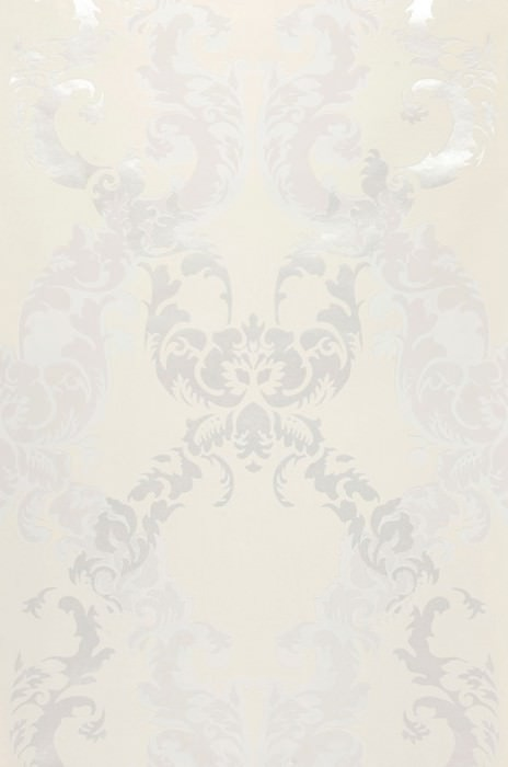 Wallpaper Siemara Shimmering pattern Matt base surface Baroque damask Cream Light ivory Silver shimmer White