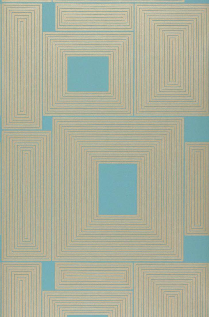 Papel pintado oni azul turquesa oro blanco papeles de for Papel pintado azul turquesa