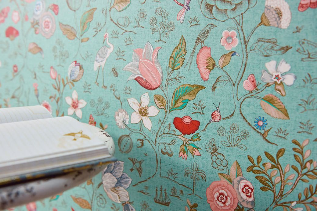 Floral Wallpaper Wallpaper Carline light mint turquoise Room View