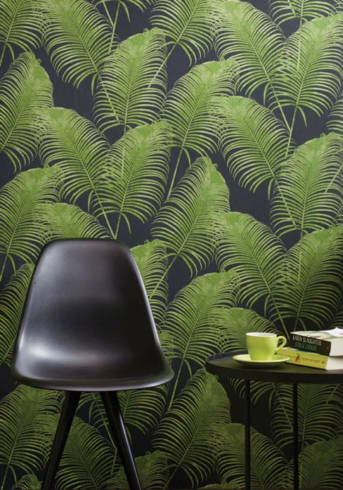 Modern Wallpaper Wallpaper Milva fern green shimmer Room View