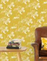 Wallpaper Trinity Matt Carousel Horses Lemon yellow Grey white