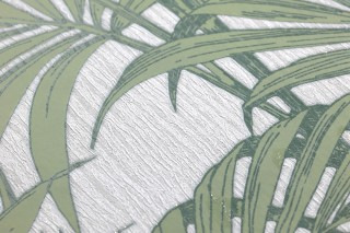 Wallpaper Tatanu Matt pattern Shimmering base surface Palm fronds White Glitter Dark green Pastel green