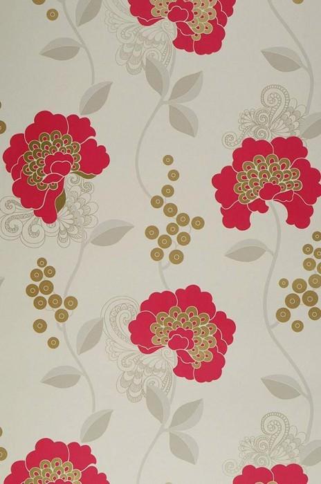 Papier peint Mimir Mat Fleurs Blanc crème Doré lustre Gris beige clair  Rouge framboise