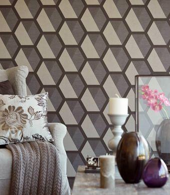 Wallpaper Hirolanit light beige grey glitter Room View