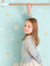 Wallpaper Confetti Matt Dots Pastel turquoise Pale beige Cream Ochre yellow