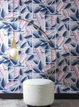Papier peint Genevieve Mat Feuilles Éléments graphiques Fleurs stylisées Gris clair  Bleu gris Blanc gris brillant Bleu pastel Violet pastel
