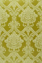 Wallpaper Anubis Matt pattern Shimmering base surface Baroque damask Yellow green shimmer Pale green
