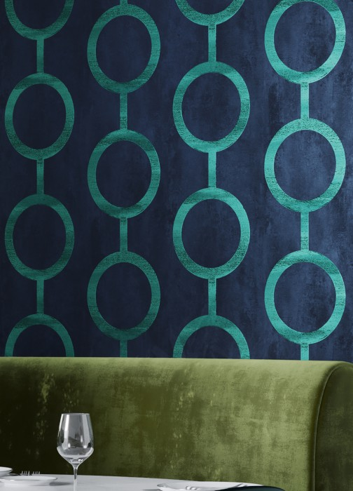Wallpaper Florin Matt Geometrical elements Circular pattern Dark blue Grey blue Blue Green Perlopalgrün