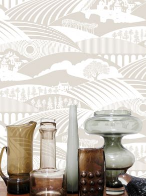 Wallpaper Ludovic light beige grey Room View
