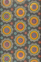 Wallpaper Bragi Shimmering pattern Matt base surface Stylised blossoms Grey brown Beige Yellow green Orange Turquoise