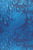 Wallpaper Izanuela Shimmering pattern Matt base surface Peacocks Branches with leaves and blossoms Night blue Antique pink Green blue Pearl blue