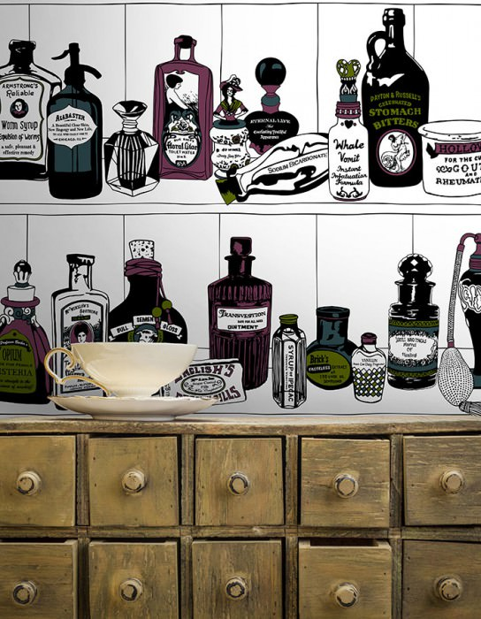 Wallpaper Potions Matt Bottles White Fern green Green blue Black Wine red