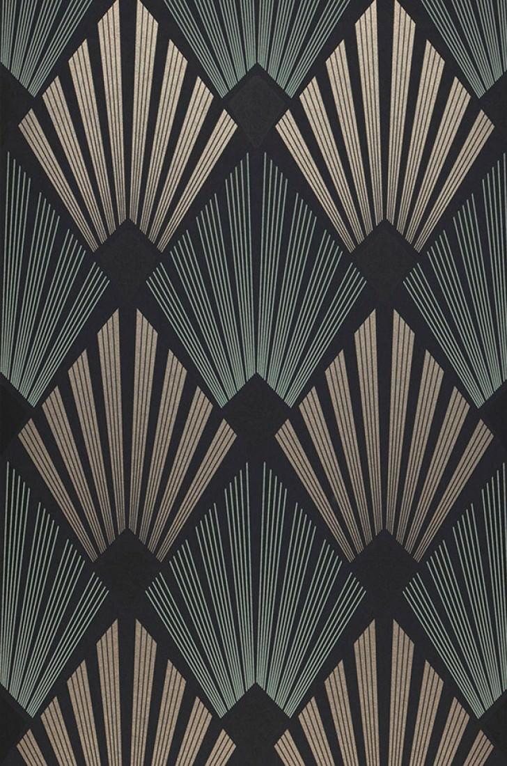 Papier Peint Pontinius Anthracite Beige Nacr 233 Noir